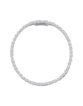 14kt White Gold Womens Round Diamond Open-center Circle Pendant 1/2 Cttw