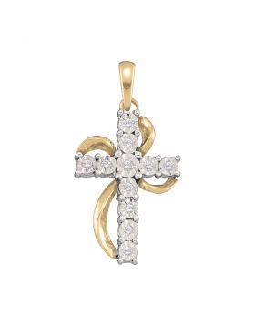 10kt Yellow Gold Womens Round Diamond Cross Faith Pendant 1/8 Cttw