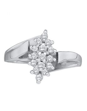 14kt White Gold Womens Round Prong-set Diamond Oval Cluster Ring 1/4 Cttw