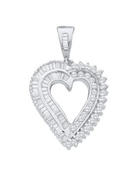 14kt White Gold Womens Round Diamond Heart Pendant 7/8 Cttw