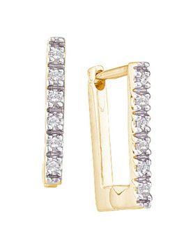 14kt Yellow Gold Womens Round Diamond Rectangle Huggie Hoop Earrings 1/20 Cttw