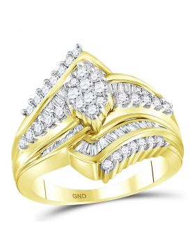 14kt Yellow Gold Womens Round Diamond Oval Cluster Bridal Wedding Engagement Ring 1.00 Cttw