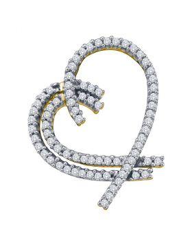 14kt Yellow Gold Womens Round Diamond Heart Outline Pendant 3/4 Cttw