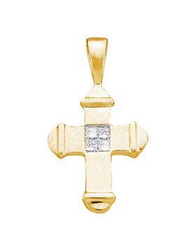 10kt Yellow Gold Womens Princess Diamond Cross Pendant 1/20 Cttw
