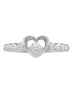 10kt White Gold Womens Round Diamond Slender Heart Ring 1/10 Cttw