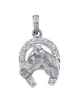 14kt White Gold Womens Round Diamond Lucky Horseshoe Pendant 1/10 Cttw