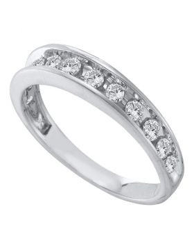 14kt White Gold Womens Round Channel-set Diamond Single Row Wedding Band 1/2 Cttw