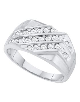 10KT WHITE GOLD ROUND PAVE-SET DIAMOND TRIPLE ROW CLUSTER RING 1/2 CTTW