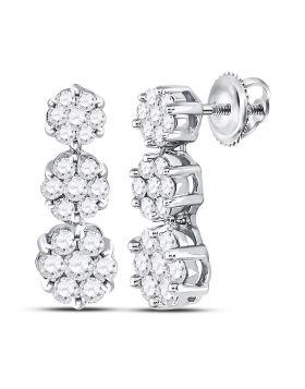 14kt White Gold Womens Round Diamond Triple Vertical Flower Cluster Earrings 1.00 Cttw