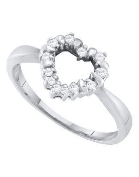 10kt White Gold Womens Round Diamond Heart Outline Ring 1/8 Cttw