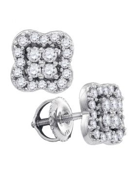 14k White Gold Womens Round Diamond Square-shape Cluster Stud Screwback Earrings 1/2 Cttw
