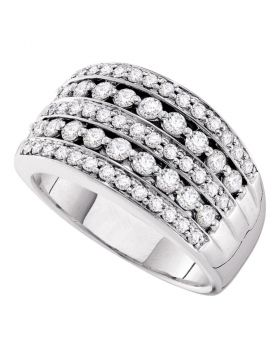 14kt White Gold Womens Round Diamond Striped Fashion Band Ring 1.00 Cttw