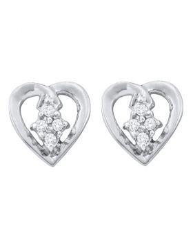 10kt White Gold Womens Round Diamond Heart Cluster Stud Earrings 1/12 Cttw