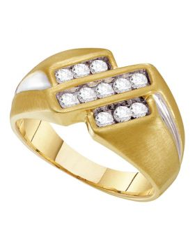 10KT YELLOW TWO-TONE GOLD ROUND CHANNEL-SET DIAMOND TRIPLE ROW BAND RING 1/2 CTTW