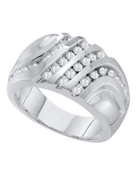 10KT WHITE GOLD ROUND DIAMOND FOUR ROW CLUSTER RING 1/2 CTTW