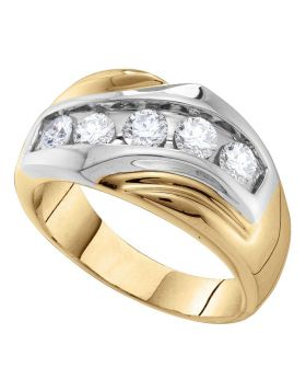 14KT YELLOW GOLD ROUND DIAMOND SINGLE ROW TWO-TONE LARGE BAND RING 1.00 CTTW