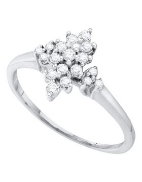 10kt White Gold Womens Round Prong-set Diamond Oval Cluster Ring 1/4 Cttw