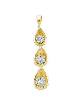 14kt Yellow Gold Womens Round Diamond Triple Cascading Flower Cluster Pendant 1/4 Cttw