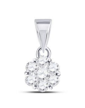 14kt White Gold Womens Round Diamond Flower Cluster Pendant 1/3 Cttw