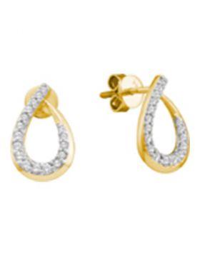 14kt Yellow Gold Womens Round Diamond Teardrop Outline Screwback Stud Earrings 1/4 Cttw