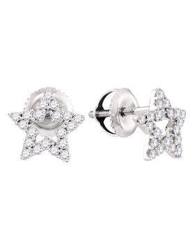 14kt White Gold Womens Round Diamond Star Stud Earrings 1/3 Cttw