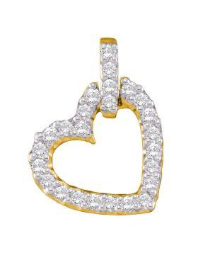 14kt Yellow Gold Womens Round Diamond Small Dangling Heart Pendant 1/4 Cttw