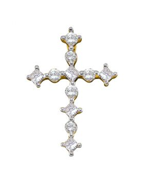 14kt Yellow Gold Womens Princess Round Diamond Cross Religious Pendant 1/2 Cttw