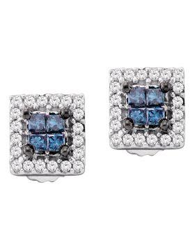 14kt White Gold Womens Princess Blue Color Enhanced Diamond Cluster Earrings 1/3 Cttw