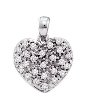 14kt White Gold Womens Round Diamond Small Heart Cluster Pendant 1/6 Cttw