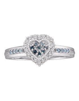 10kt White Gold Womens Round Blue Color Enhanced Diamond Heart Cluster Ring 1/4 Cttw