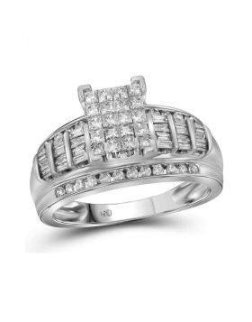 14kt White Gold Womens Princess Diamond Cluster Bridal Wedding Engagement Ring 1.00 Cttw - Size 10