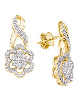 14kt Yellow Gold Womens Round Diamond Flower Cluster Screwback Earrings 1.00 Cttw