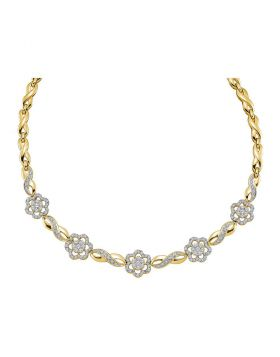 14kt Yellow Gold Womens Round Diamond Infinity Flower Cluster Necklace 2.00 Cttw