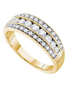 14kt Yellow Gold Womens Round Diamond Triple Row Stripe Band Ring 3/4 Cttw