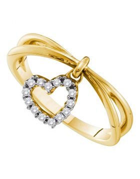 14kt Yellow Gold Womens Round Diamond Heart Love Dangle Ring 1/10 Cttw