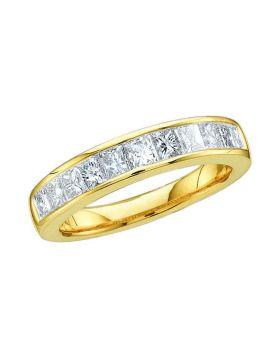 14kt Yellow Gold Womens Princess Channel-set Diamond Single Row Wedding Band 1/2 Cttw - Size 5