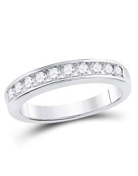 14kt White Gold Womens Round Channel-set Diamond Wedding Band 1/2 Cttw - Size 6