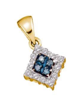 10kt Yellow Gold Womens Round Blue Color Enhanced Diamond Cluster Pendant & Earrings Set 3/8 Cttw