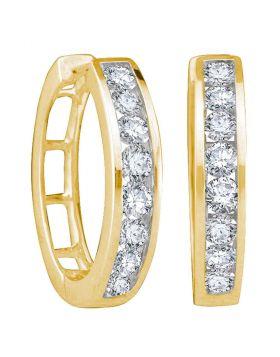 14kt Yellow Gold Womens Round Channel-set Diamond Hoop Earrings 1/2 Cttw