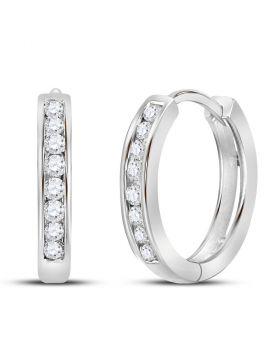 14kt White Gold Womens Round Diamond Hoop Earrings 1/4 Cttw