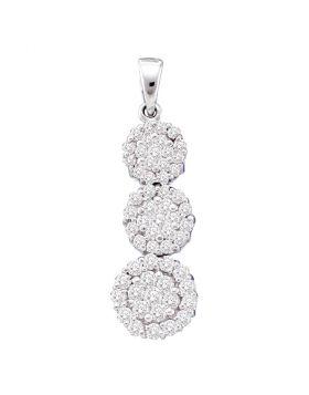 14kt White Gold Womens Round Diamond Triple Cascading Trinity Cluster Pendant 1 Cttw