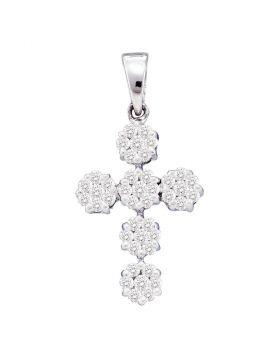 14kt White Gold Womens Round Diamond Cluster Cross Religious Pendant 1/2 Cttw