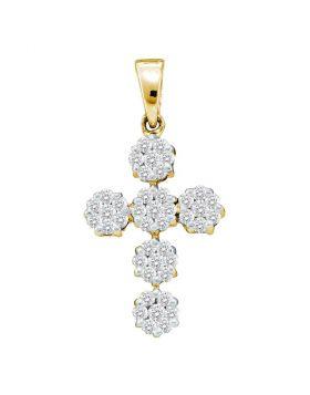 14kt Yellow Gold Womens Round Diamond Cluster Cross Religious Pendant 1/2 Cttw