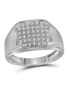 10KT WHITE GOLD ROUND PAVE-SET DIAMOND SQUARE CLUSTER RING 1/4 CTTW