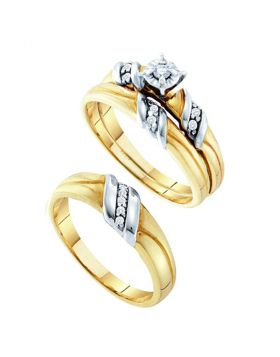 14kt 2-tone Gold His & Hers Round Diamond Solitaire Matching Bridal Wedding Ring Band Set 1/6 Cttw