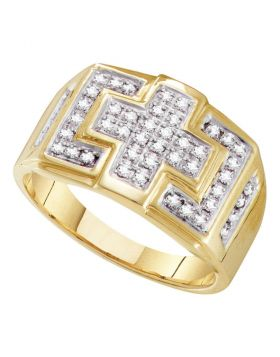 10KT YELLOW GOLD ROUND DIAMOND SQUARE CROSS CLUSTER RING 1/3 CTTW