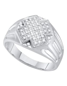 10KT WHITE GOLD ROUND DIAMOND CROSS CLUSTER RING 1/4 CTTW