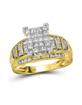14kt Yellow Gold Womens Princess Diamond Cluster Bridal Wedding Engagement Ring 2.00 Cttw - Size 10