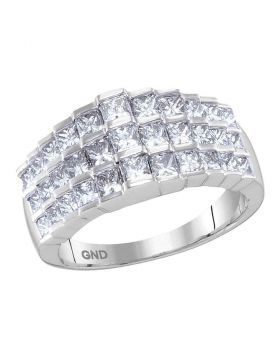 14kt White Gold Womens Staggered Princess Diamond Arched Fashion Band Ring 2.00 Cttw