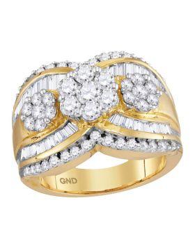 14kt Yellow Gold Womens Round Diamond Triple Flower Cluster Bridal Wedding Engagement Ring 2.00 Cttw